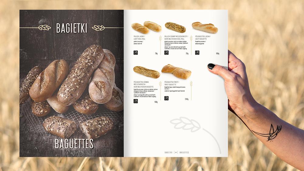 Projekt graficzny katalogu Zakładu Piekarniczego Omar, rozkładówka z ofertą piekarni.