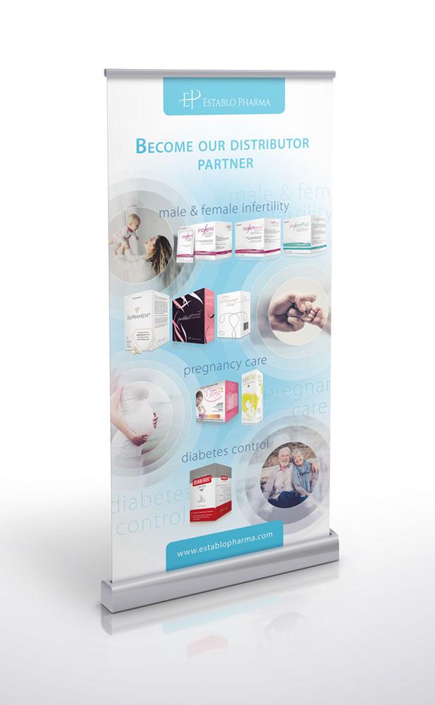 Projekt graficzny roll-up identyfikacja wizualna Establopharma