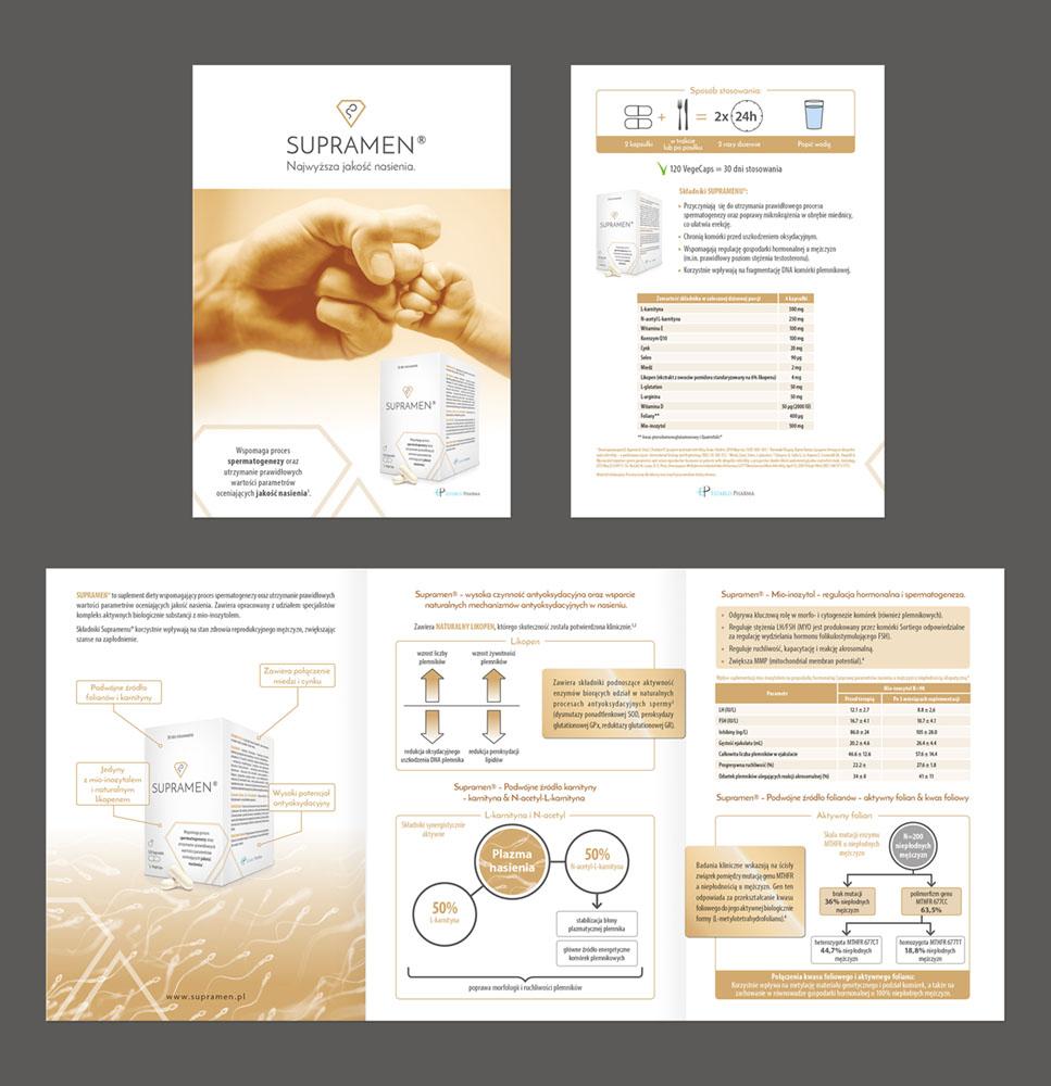 Projekt graficzny folderek folder ulotka Supramen