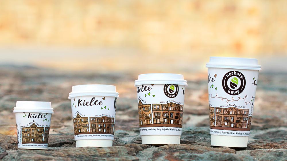 kreatywny projekt graficzny kubka papierowego; kubek papierowy; kawa; Kielce
