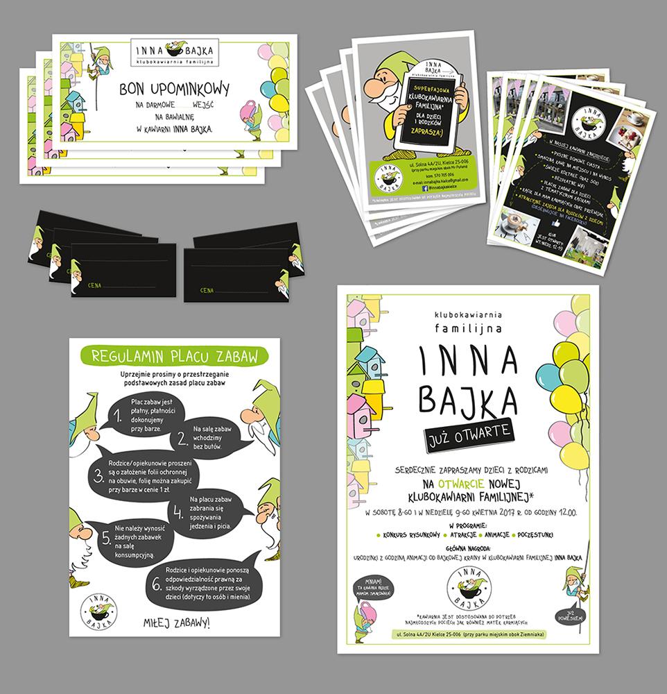 Projekt graficzny; autorski; kreatywny;ilustracje; krasnale; logo; witryna sklepowa; witryna lokalu; dla dzieci; stand; materiały rekalomwe; Inna bajka; klubokawiarnia