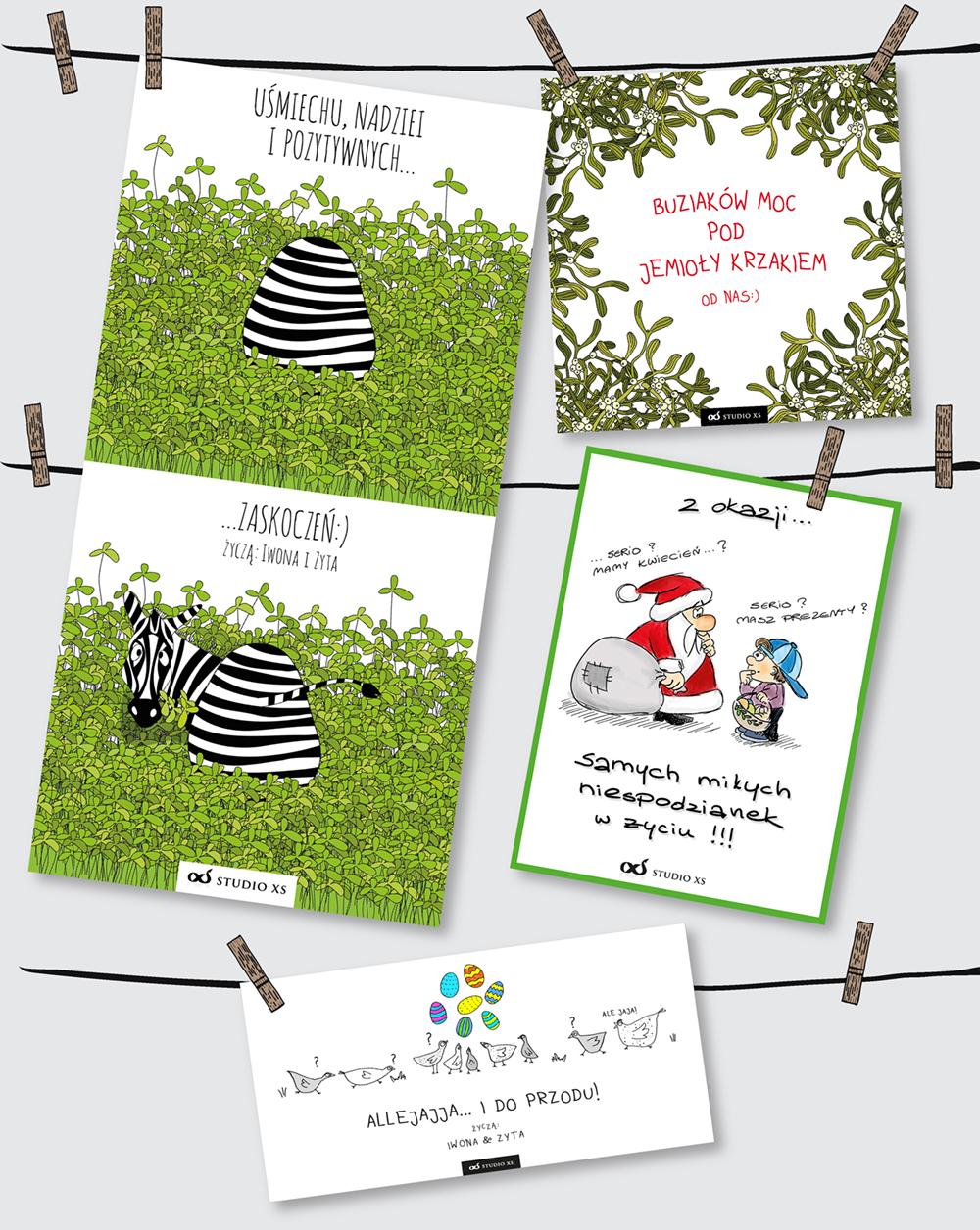 projekt kartki świątecznej; autorski; ilustracja; Święta; Boże Narodzenie; Wielkanoc; easter; Christmas; card; wesoła; zabawna