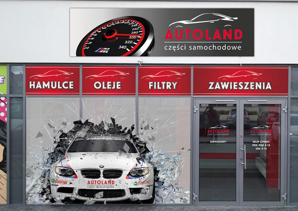 Projekt witryny sklepowej i kasetonu Autoland