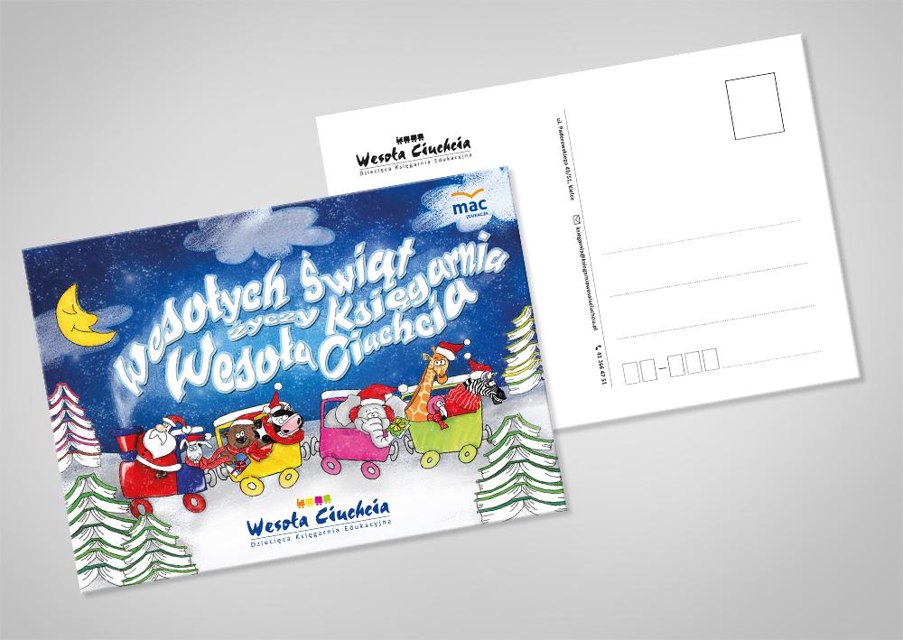 Studio XS - ilustracja autorska;ilustracja; kartka; pocztówka; świąteczna; z mikołajem; projekt; graficzny; WESOŁA CIUCHCIA; postcard; graphic; design; project; cartoon